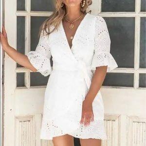 Cotton wrap white mini ruffle dress